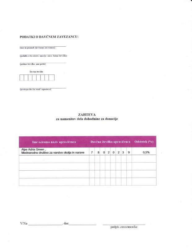 Dohodnina - zahteva